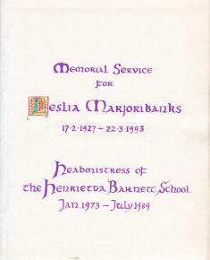 Hand bound books - Leslia Marjoribanks memorial service programme