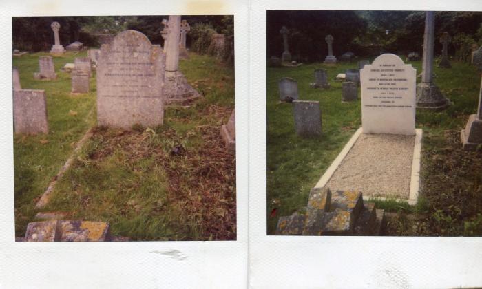 Gravestone of Henrietta Barnett before and after restoration