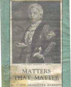 Front cover of Matters that Matter by Henrietta Barnett