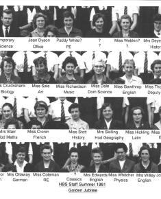 Henrietta Barnett School staff photo 1961
