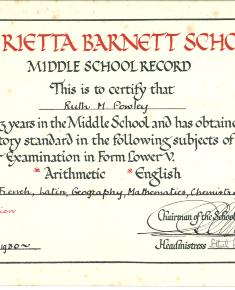 Henrietta Barnet Middle School Record