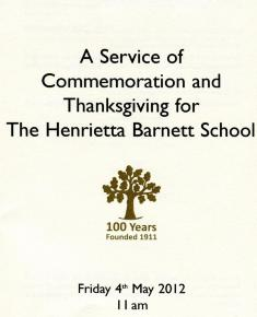 Services of thanksgiving centenary