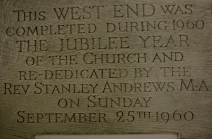 Plaque marking completion of the West End