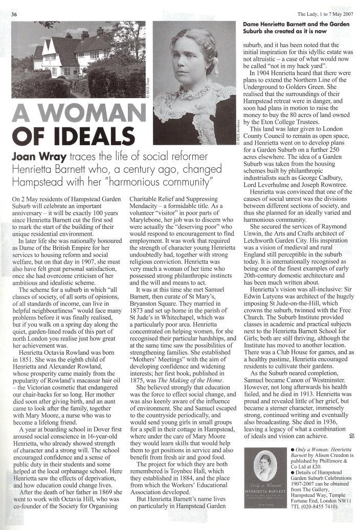 The Lady Magazine - Henrietta Barnett