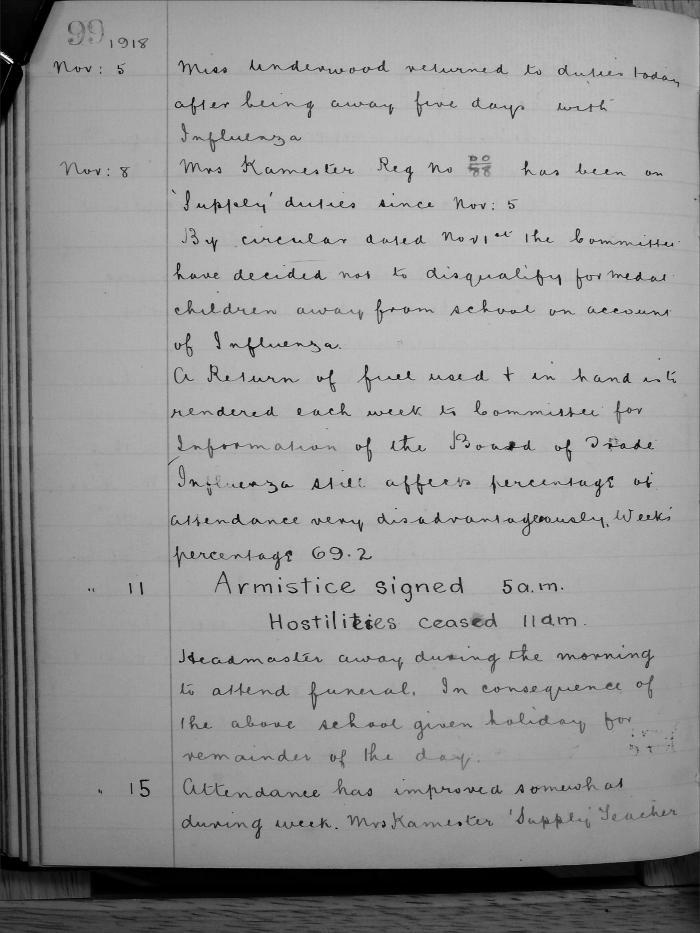 GSS Armistice log book entry