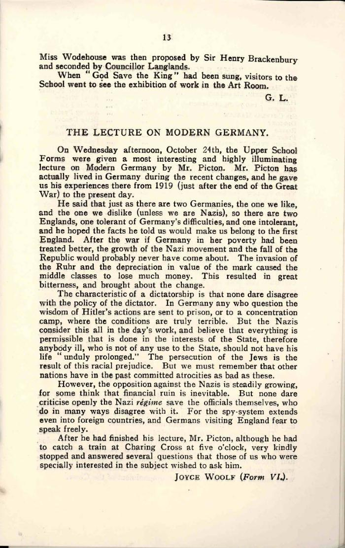 HBS - Lecture on Modern Germany