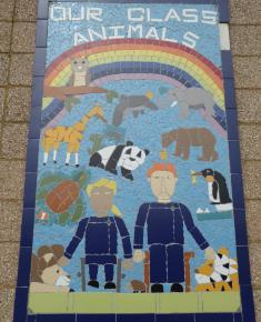 Queen's Golden jubilee mosaic on side of Infant school 2002