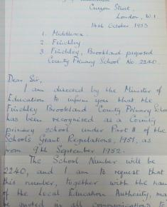 Oct 1953 copy of letter registering School from 9.9.1952, 2 pages