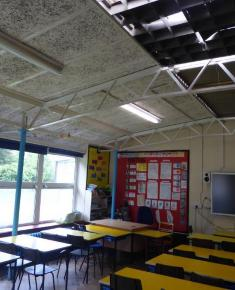 Classroom with blocked-in louvred skylights