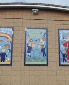 Queen's Golden jubilee 3 mosaics on side of Infant school 2002