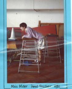 Miss Miller, Headteacher, directing School play 1981