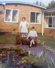 Miss Miller, Headteacher, and Mrs Joyce Seery, Welfare Officer, by School pond October 1983